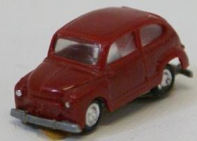 Red Fiat 600 Plastic Car by EKO Spain, HO (G22)