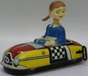 Windup Marx Nodder Bobble Head Girl in Driver's Ed Car