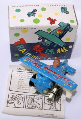 Blue Windup Training Plane Airplane MS011 in Original