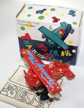 Red Windup Training Plane Airplane MS011 in Original