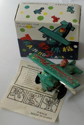 Green Windup Training Plane Airplane MS011 in Original