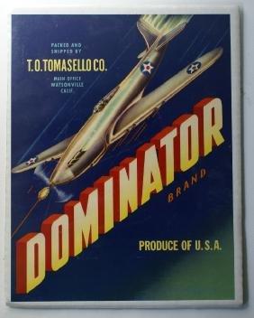 1940's Original DOMINATOR Vegetable Crate Label with