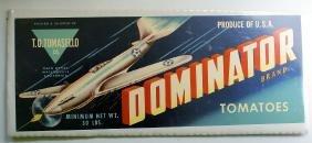 1940's Original DOMINATOR Vegetable Long Crate Label