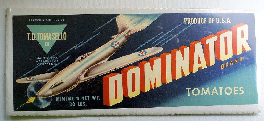 1940's Original DOMINATOR Vegetable Long Crate Label