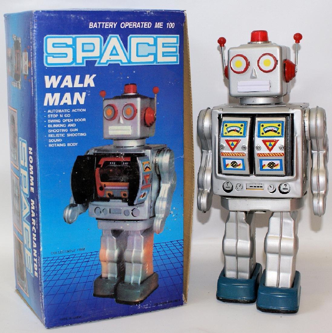 1990's Tin B.O. Silver SPACE 'WALK MAN' ROBOT in Box