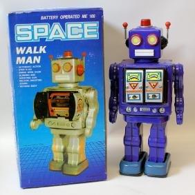 1990's Tin B.O. Purple SPACE 'WALK MAN' ROBOT in Box