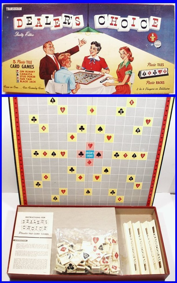 Dealers Choice Board Game by Transogram, 1954 (bb16)