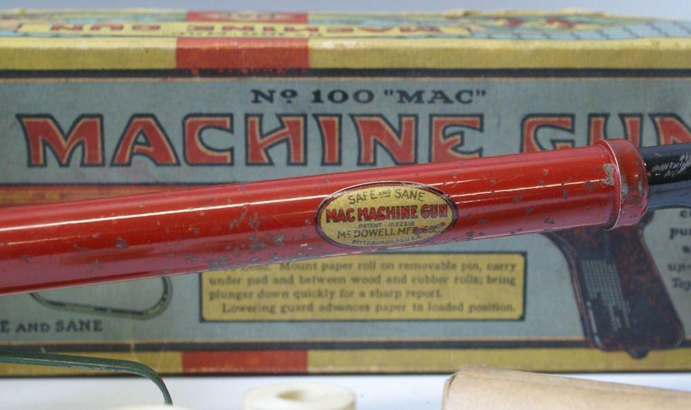 Vintage No. 100 Mac Machine Gun Toy Paper Pop Air Gun - 2