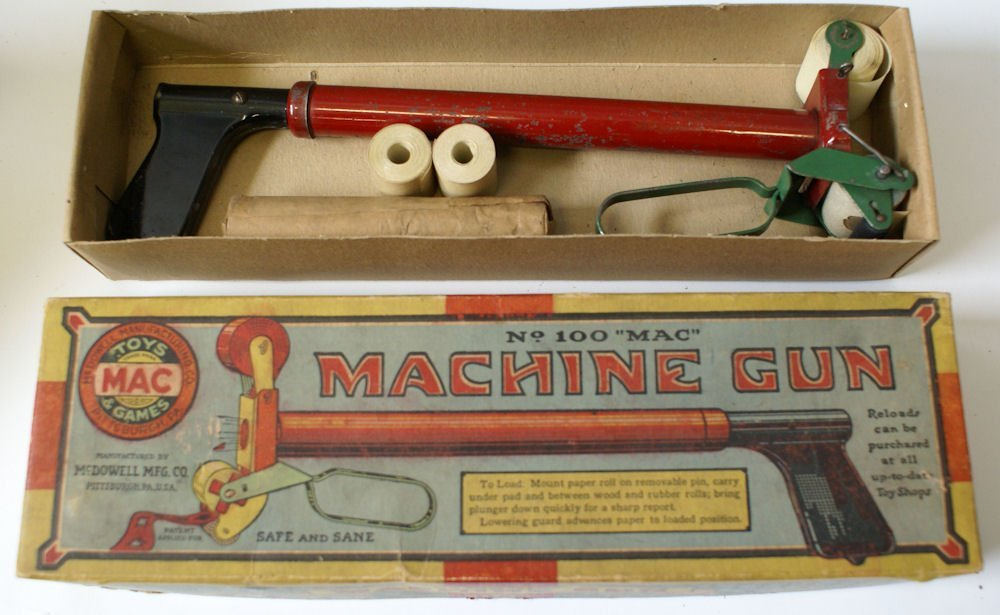 Vintage No. 100 Mac Machine Gun Toy Paper Pop Air Gun - 3