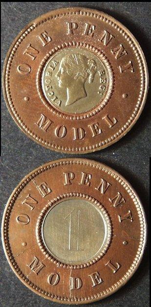 Vintage 1 Penny Model British Token Coin, AU