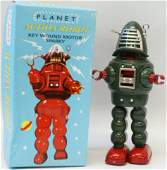Tin Green PLANET ACTION Windup Sparking Robot mint in