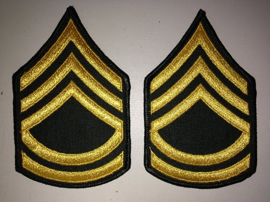 2 Patches Military US Army SFC (E-7) Rank Insignia