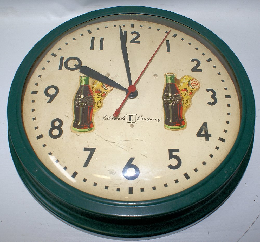 Vintage Coca Cola Round Metal & Domed Glass Wall Clock