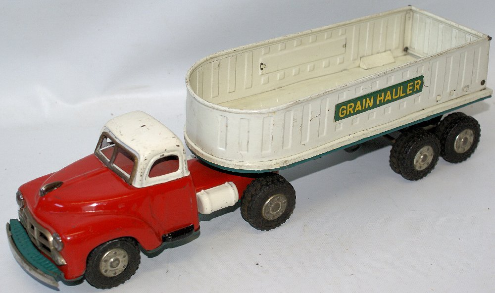 RARE Vintage Tin Friction Toy GRAIN HAULER Farm Truck,