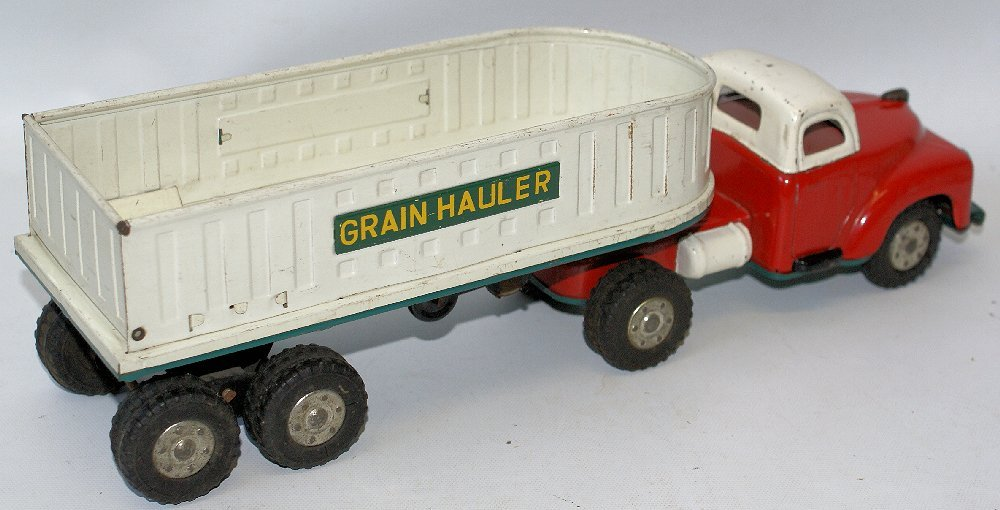 RARE Vintage Tin Friction Toy GRAIN HAULER Farm Truck, - 2