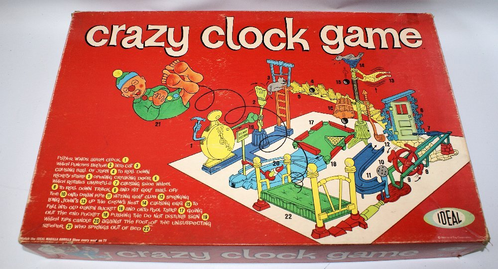 RARE 1964 CRAZY CLOCK GAME Board Game Set by Ideal