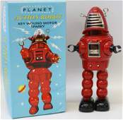 Tin Red PLANET ACTION Windup Sparking Robot