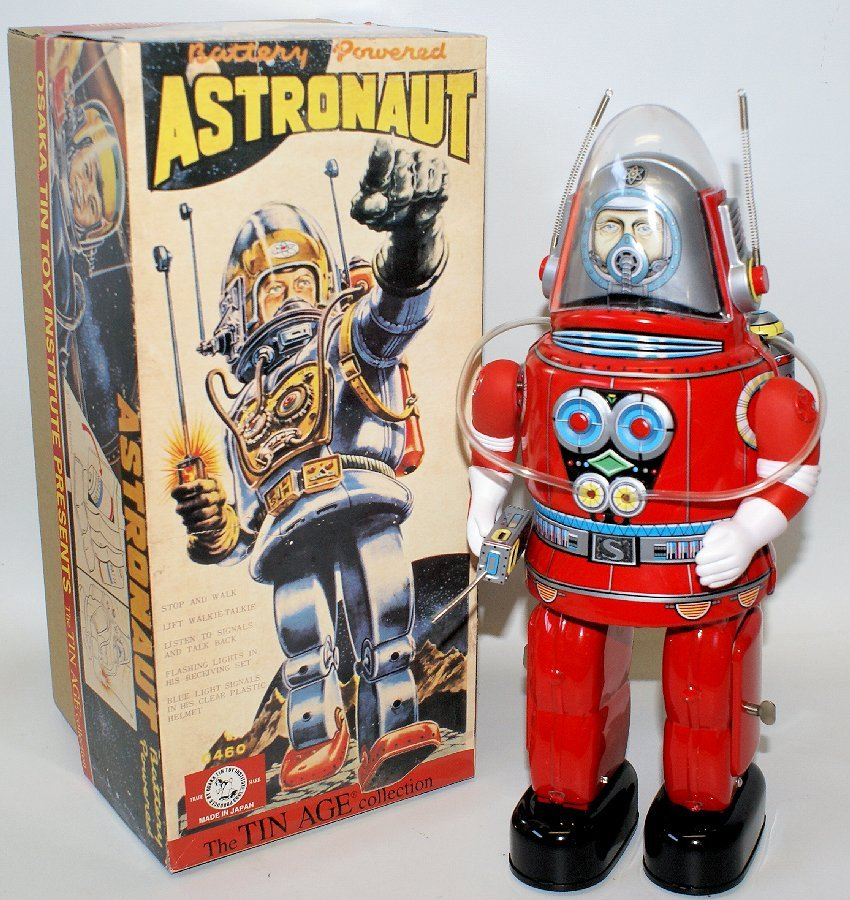 1990 ASTRONAUT Red Tin Battery Operated Space Robot in