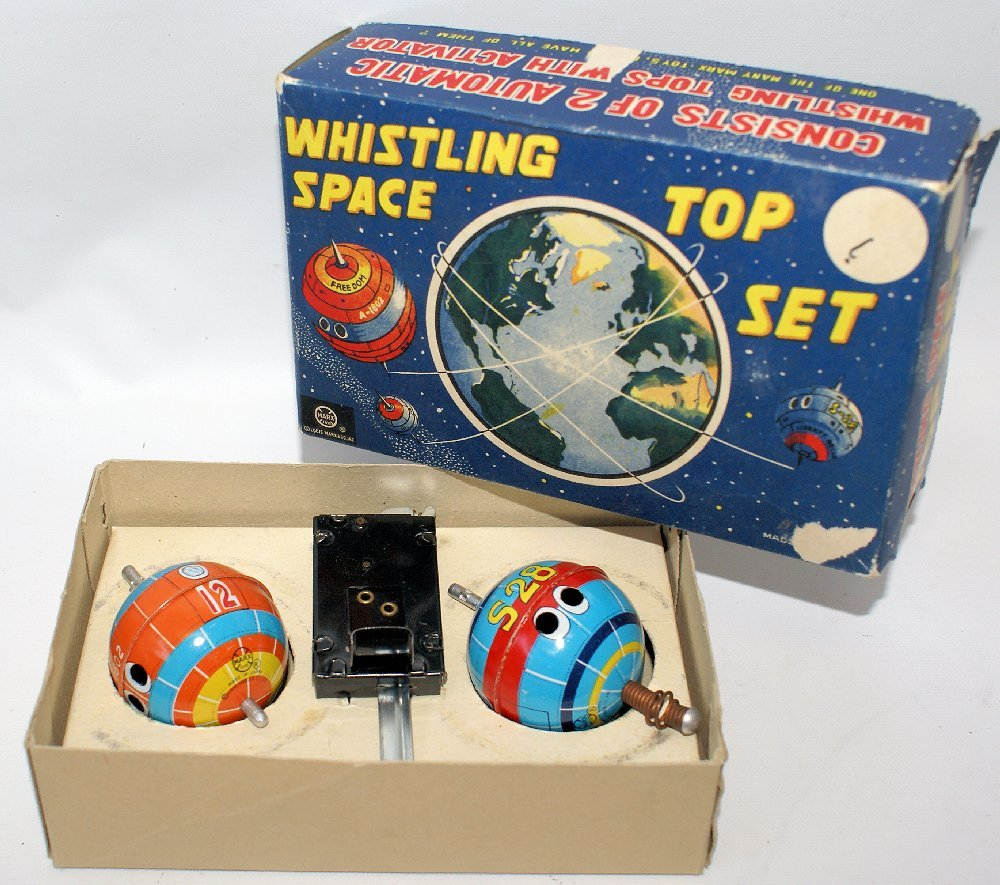 ULTRA RARE Vintage 1958 MARX Whistling Space Top Set in