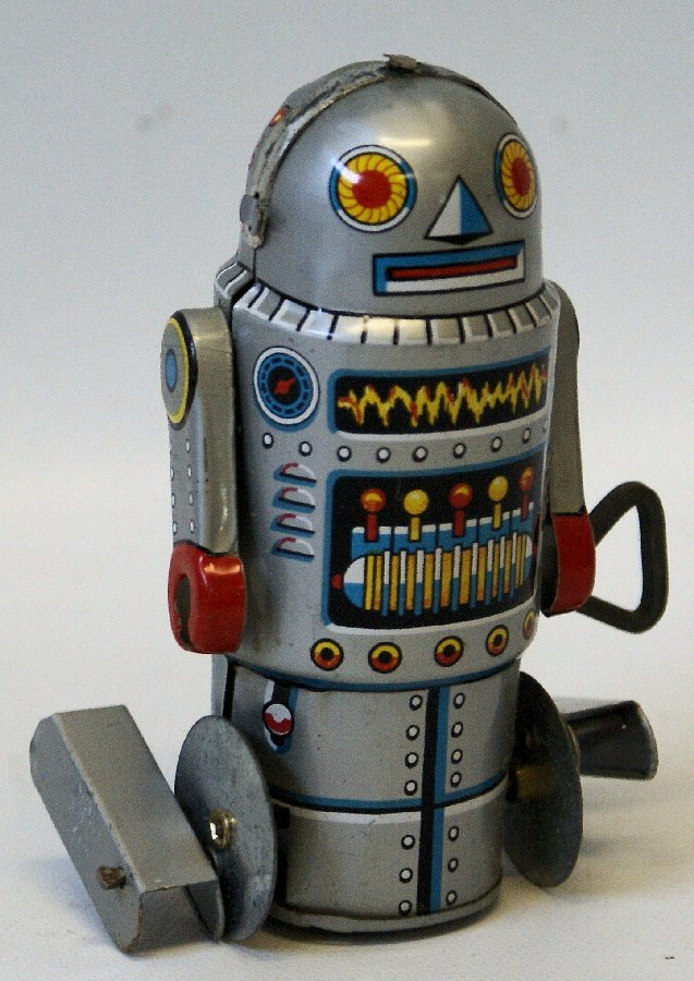 1960's Tin Litho Silver Mechanical Wind-up ROBOT-7,