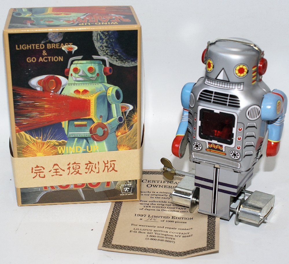 Vintage 1997 Tin Wind-up SPARKY ROBOT with Certificate,
