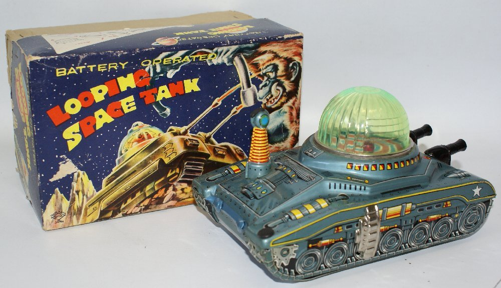 RARE Vintage 1950's Tin Litho Battery Op LOOPING SPACE