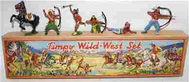 ULTRA RARE Vintage PreWar TIMPO TOYS WildWest Indians