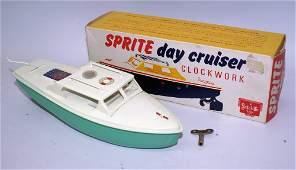 Vintage Tin Wind-up SPRITE DAY CRUISER Boat in Original