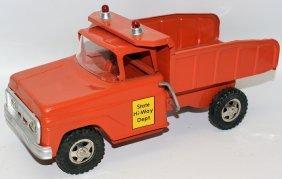 60's Tonka State Hi-way Dept Orange Manual Dump Truck