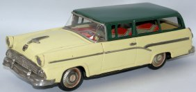 Rare Tin Friction Ford Custom Ranch Station Wagon,