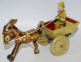 1948 Marx Tin Wind-up Hee-haw Balky Mule Donkey Pulling