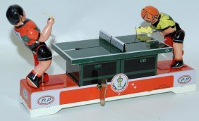 Retro Styled Tin Wind-up Ping Ping Table With Figures