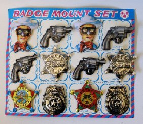 Badge Mount Set Sheriff, Police, Pistol, And Lone