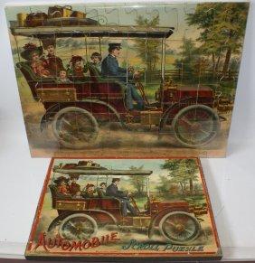 Rare 1903 Mcloughlin Bros. Automobile Scroll Puzzle In