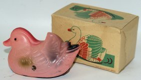 Wind-up Celluloid Duck Swan In The Original Box,