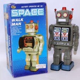 1990's Tin B.o. Dark Grey Walk Man Space Robot In Box