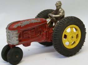 Hubley Red Farm Tractor With Cast Iron Driver