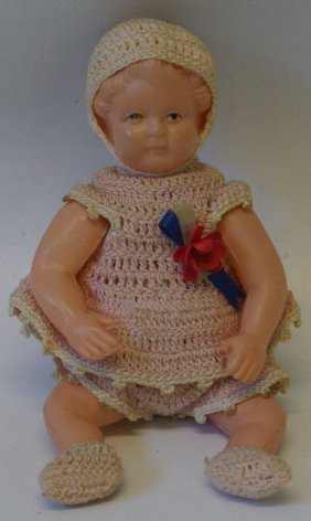 50's German Celluloid Baby Girl Doll In Handmade Dress