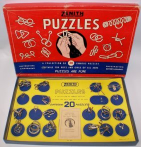 1950 Zenith Metal Trick Magic Puzzles Box Set #920