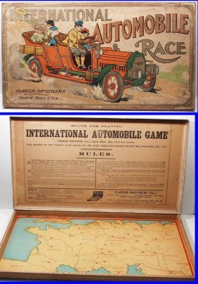 Rare 1903 International Automobile Race Board Game By