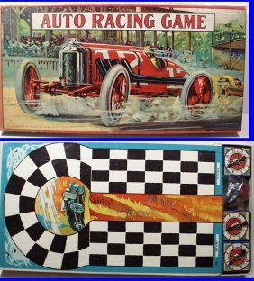 Extremely Rare 1930 Auto Race Board Game #4289 By