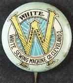 Vintage White Sewing Machine Co. Celluloid & Tin Pin