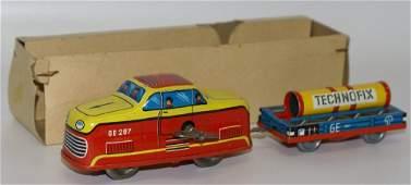 Vintage 1960's TECHNOFIX Tin Wind-up GE 297 Train &