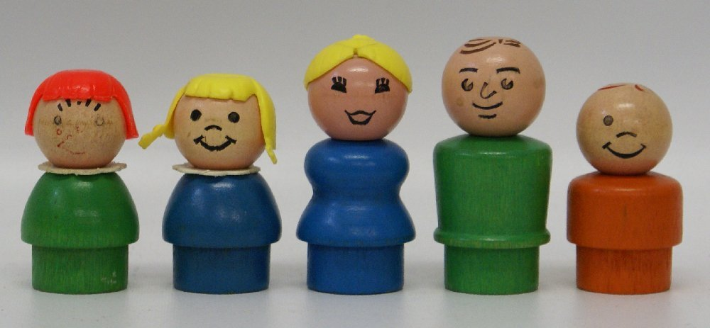 Lot of 5 Vintage FISHER PRICE Little People Wood Body &