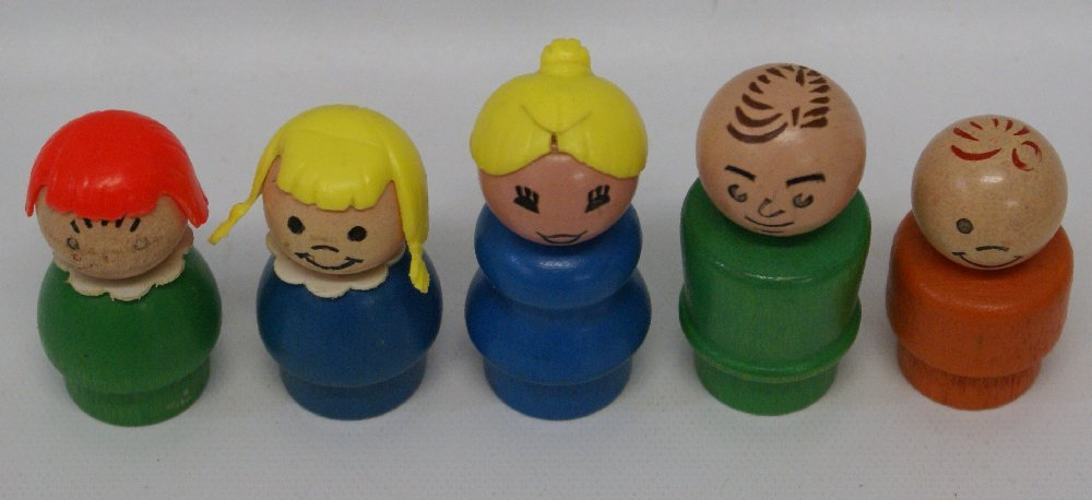 Lot of 5 Vintage FISHER PRICE Little People Wood Body & - 2