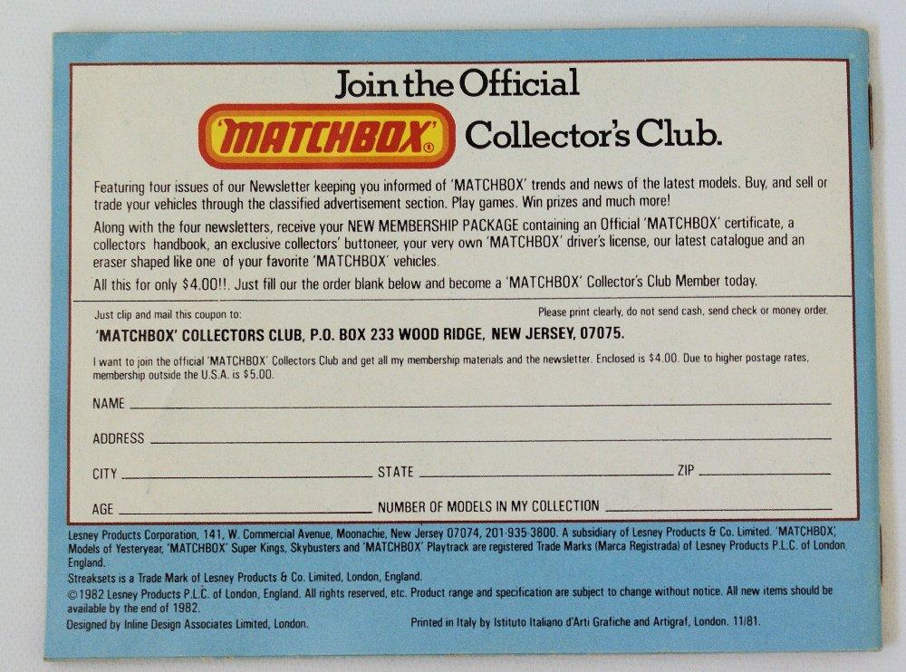 Vintage 1982/83 MATCHBOX LESNEY Collector's Toy Dealer - 3
