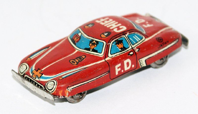 Vintage 50's Tin Litho Mini Penny Toy Fire Chief Fire