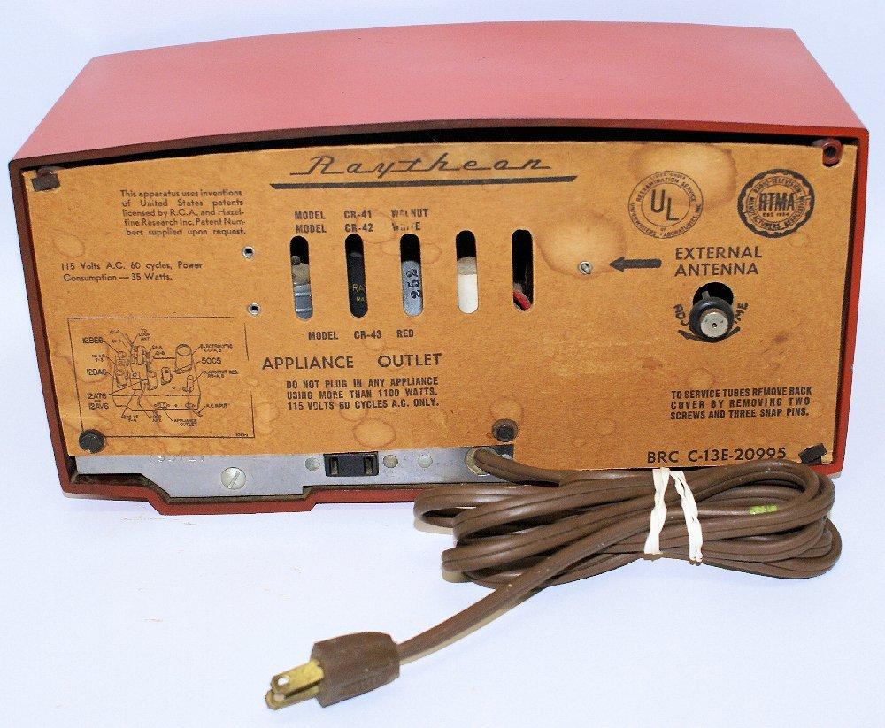RARE 1953 RAYTHEON CR-43 Red Bakelite AM Tube Clock - 5