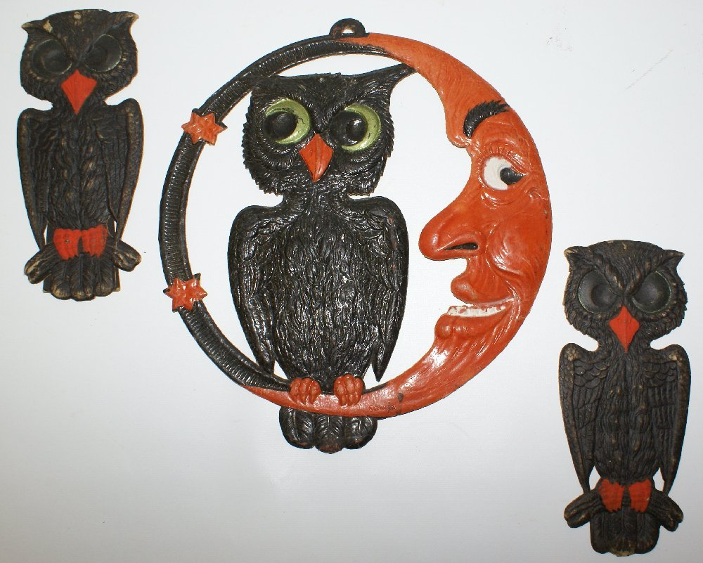 Set of 1920's Heavily Embossed Diecut HALLOWEEN Owls &