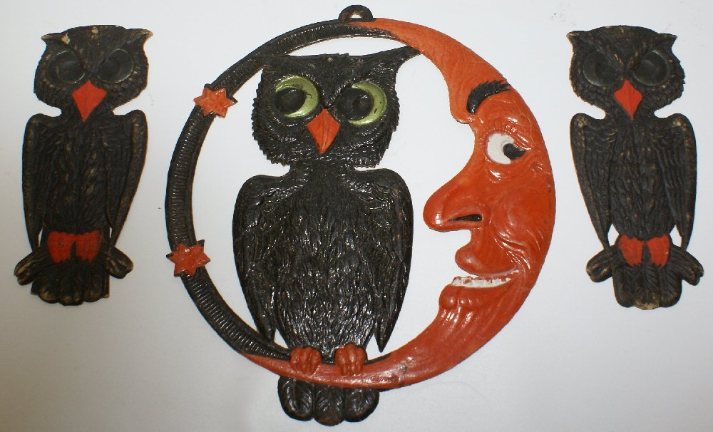 Set of 1920's Heavily Embossed Diecut HALLOWEEN Owls & - 2